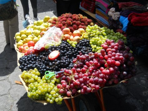 More widely available that anything else in a local market, is fresh fruit of all shapes and colors